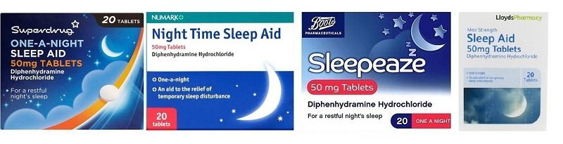 Over the counter sleeping - diphenhydramine products