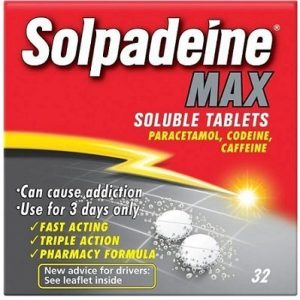 Solpadine Max - pain reliever for a toothache contain paracetamol and codeine