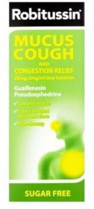 Robitussin-mucus cough and congestion medicine for chesty cough contains decongestant and expectorant