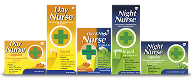 Day and Night nurse- cold and flu range, contains paracetamol and other drugs