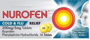 Nurofen Cold & Flu contains ibuprofen and pseudoephedrine
