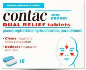 Contac - contains pseudoephedrine and paracetamol - pharmacy only medicine