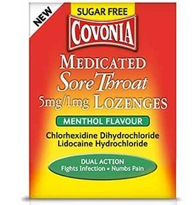Covonia Medicated Lozenges contain lidocaine and antiseptic agent